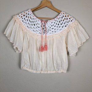 Free People Crochet Crop Top sz XS